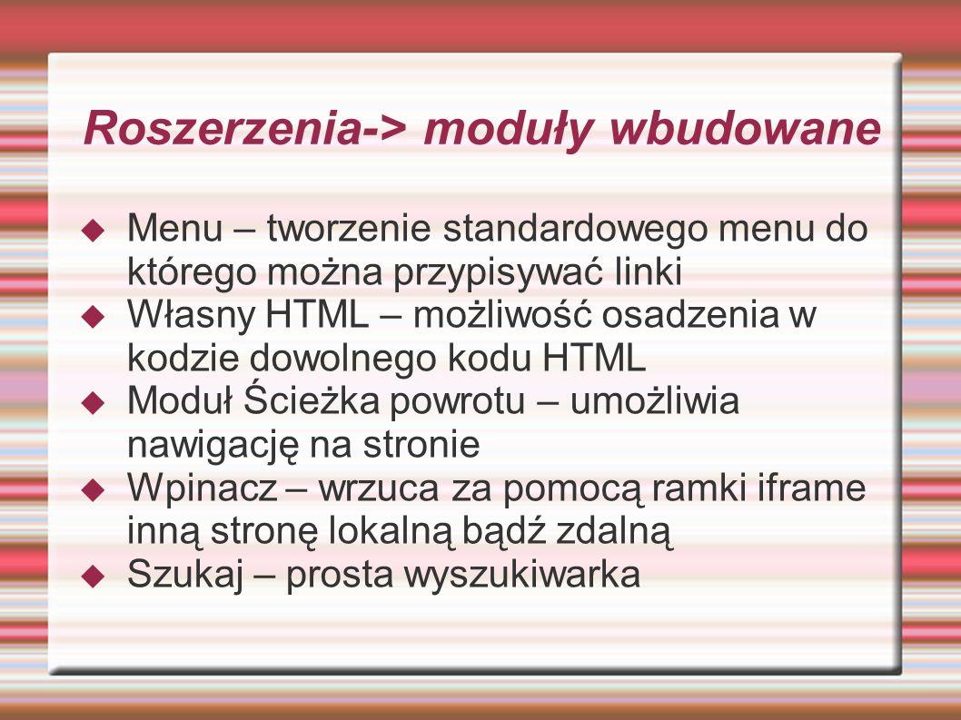 Roszerzenia-> moduły wbudowane