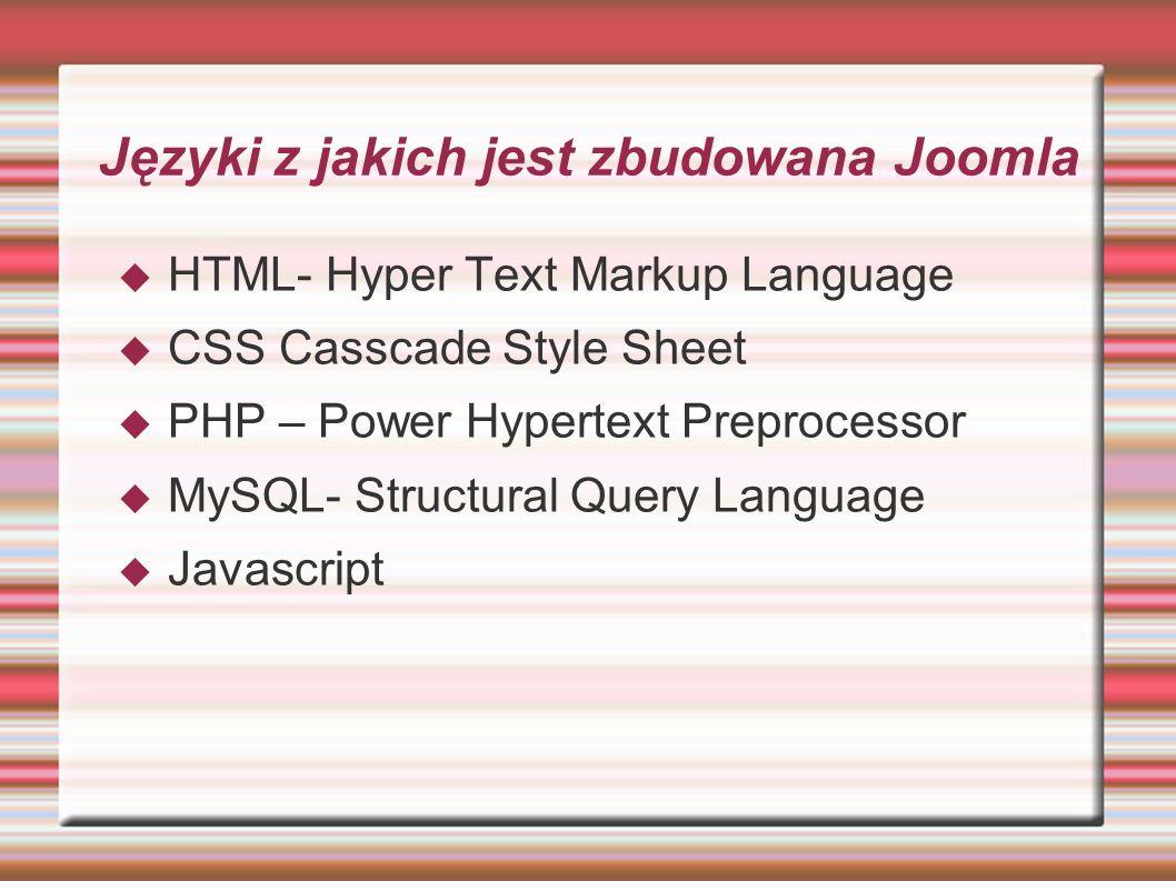 Języki z jakich jest zbudowana Joomla