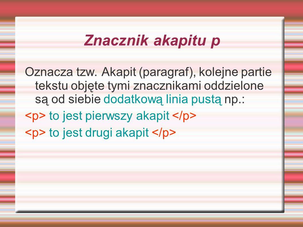 Znacznik akapitu p Oznacza tzw. Akapit (paragraf), kolejne partie tekstu objęte tymi znacznikami oddzielone są od siebie dodatkową linia pustą np.:
