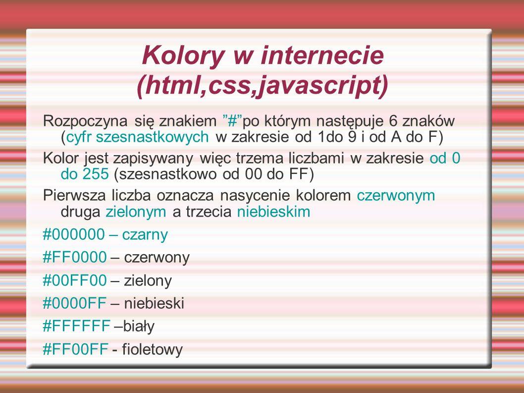 Kolory w internecie (html,css,javascript)