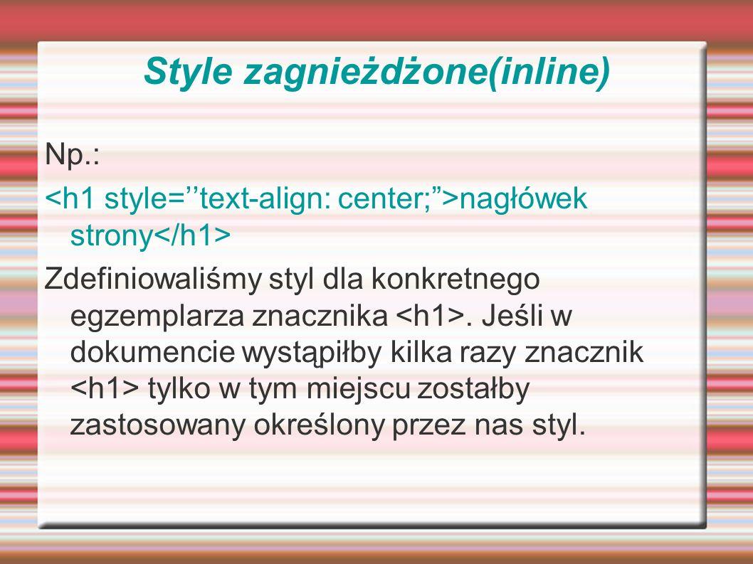 Style zagnieżdżone(inline)