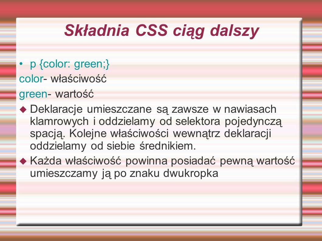 Składnia CSS ciąg dalszy