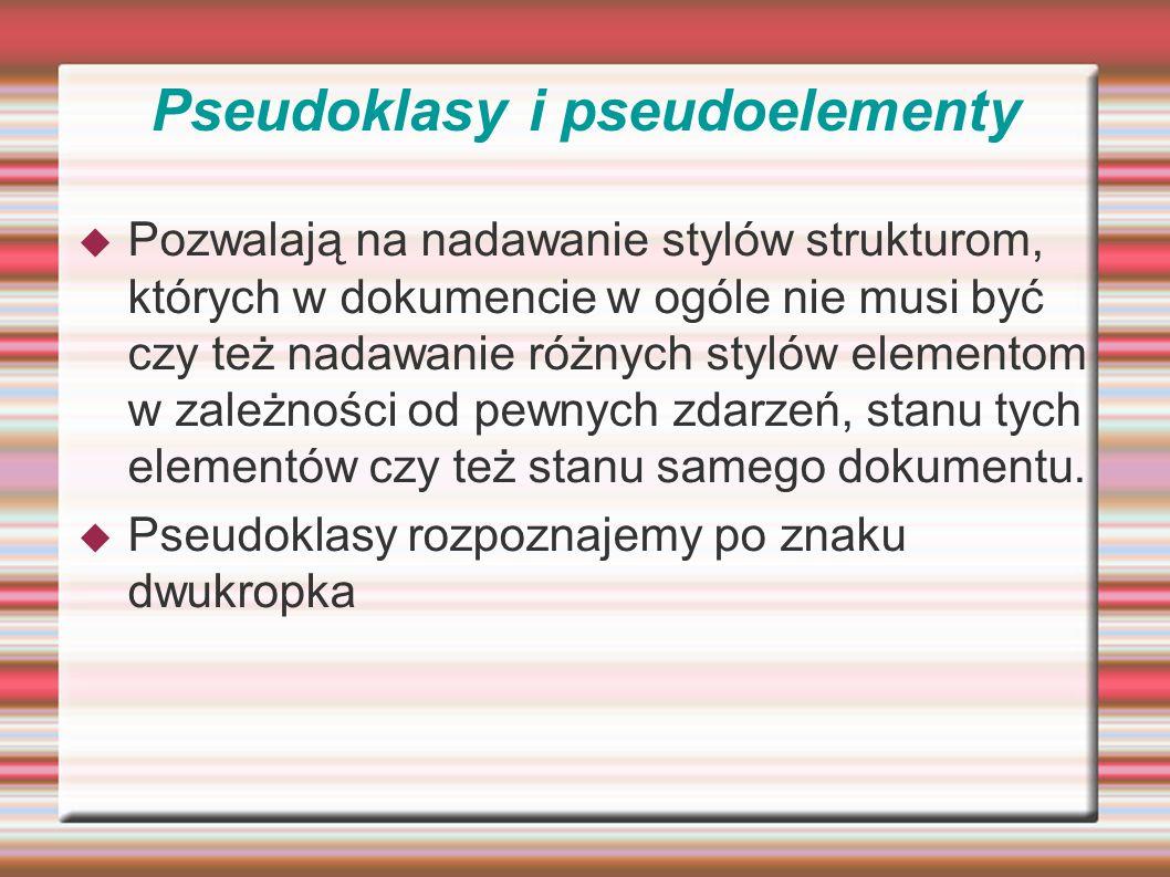 Pseudoklasy i pseudoelementy