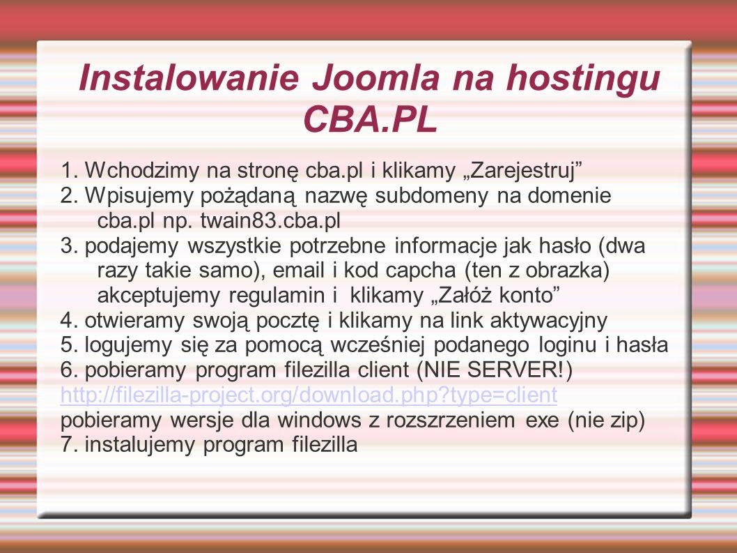 Instalowanie Joomla na hostingu CBA.PL