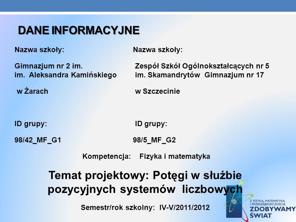 Temat projektowy: Potęgi w służbie pozycyjnych systemów liczbowych