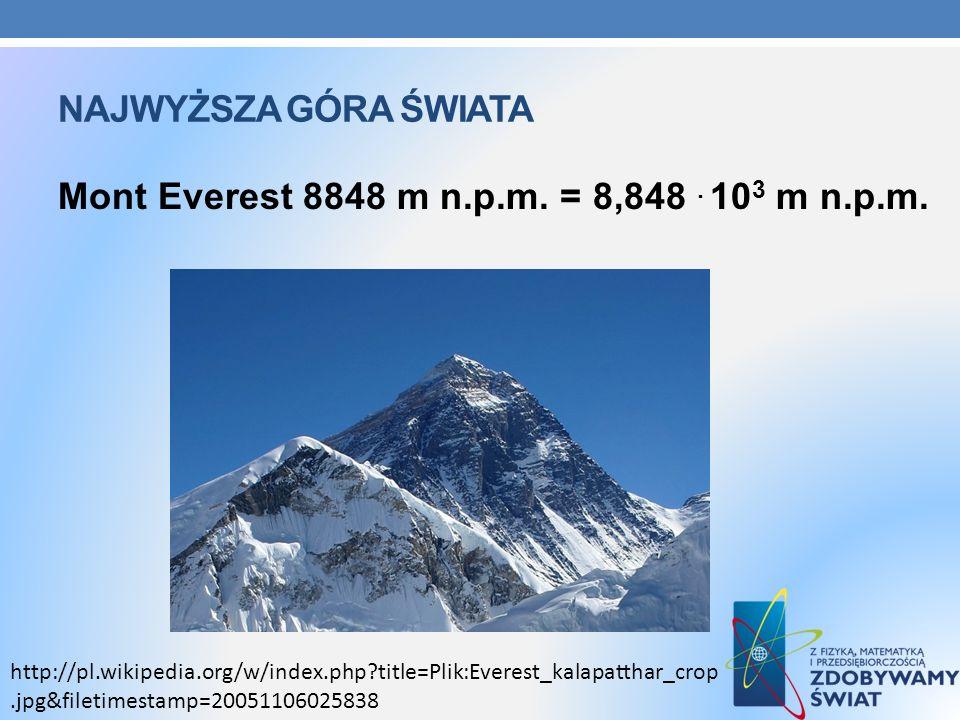 Mont Everest 8848 m n.p.m. = 8,848 . 103 m n.p.m.