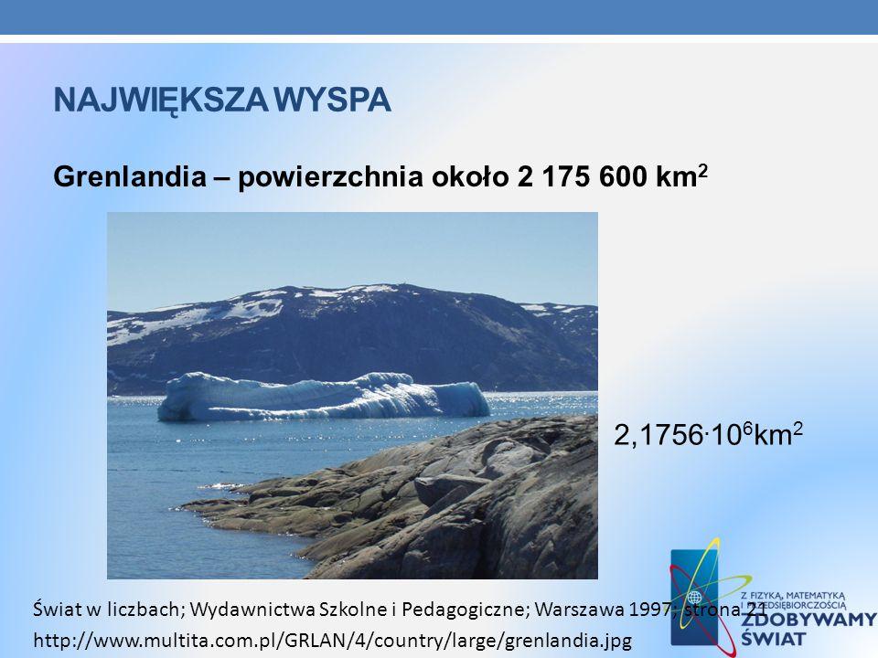 Największa wyspa Grenlandia – powierzchnia około 2 175 600 km2