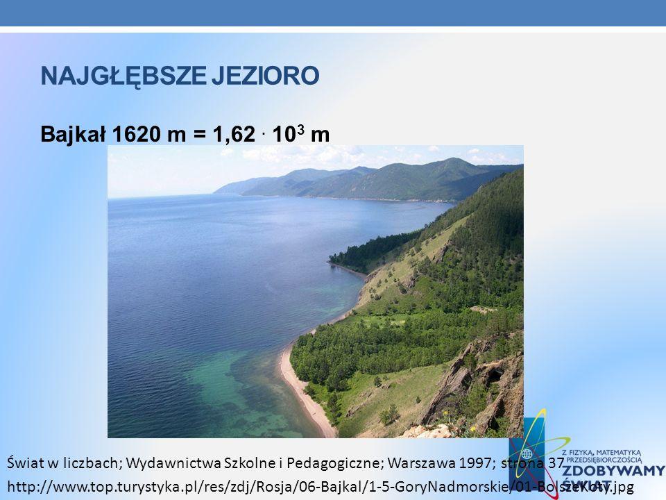 Najgłębsze jezioro Bajkał 1620 m = 1,62 . 103 m