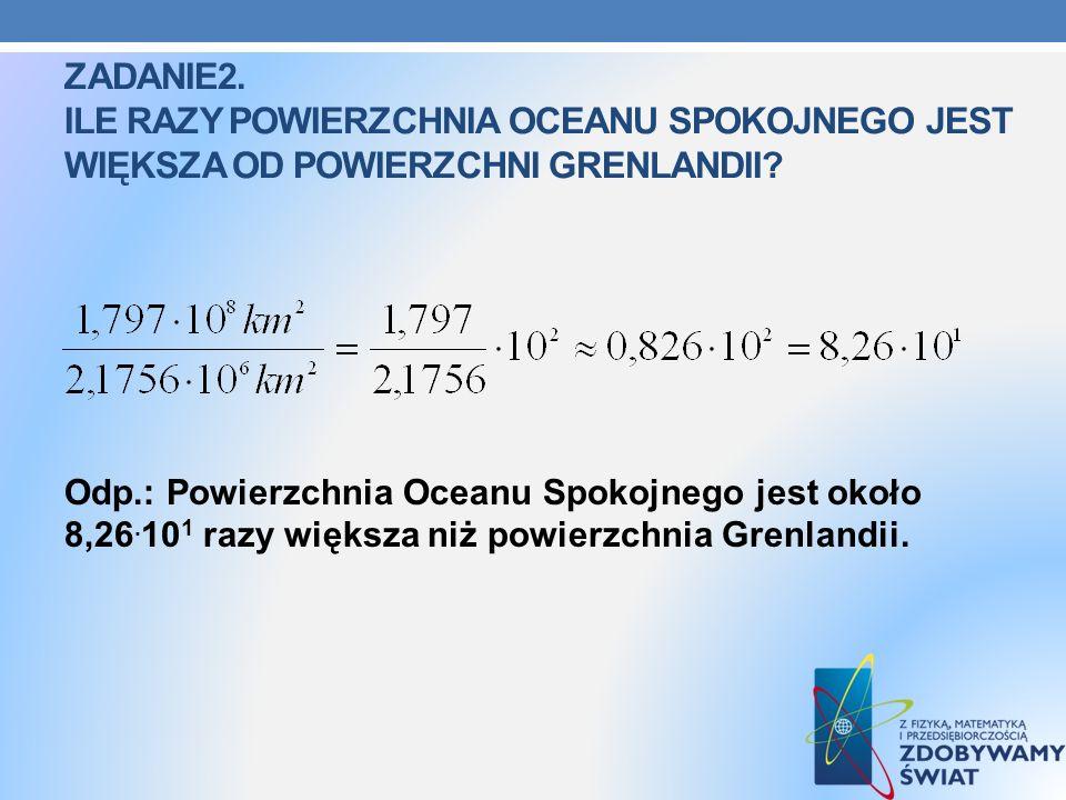 zadanie2. Ile razy powierzchnia oceanu spokojnego jest większa od powierzchni Grenlandii