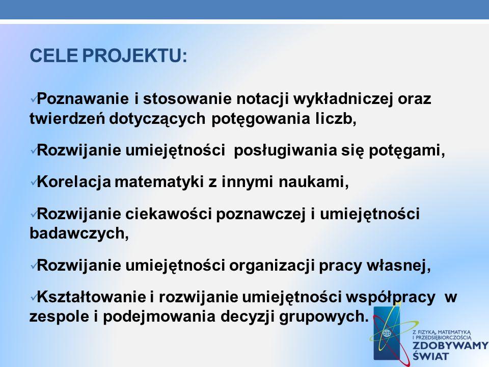 Cele projektu:Poznawanie i stosowanie notacji wykładniczej oraz twierdzeń dotyczących potęgowania liczb,