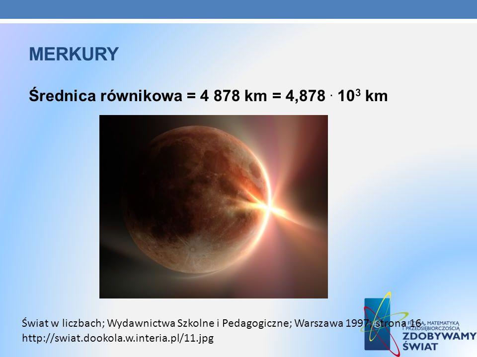 merkury Średnica równikowa = 4 878 km = 4,878 . 103 km