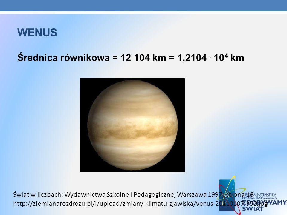 wenus Średnica równikowa = 12 104 km = 1,2104 . 104 km