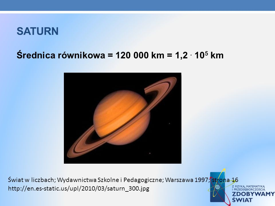 saturn Średnica równikowa = 120 000 km = 1,2 . 105 km