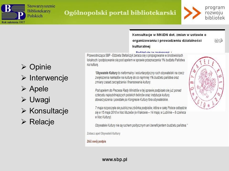 Opinie Interwencje Apele Uwagi Konsultacje Relacje www.sbp.pl