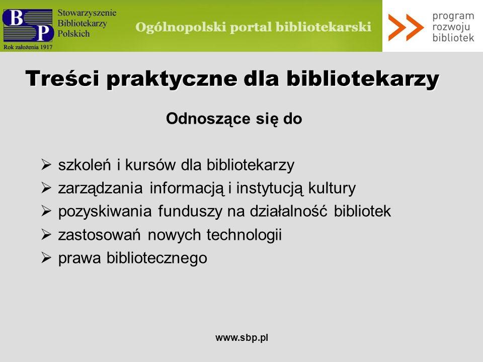 Treści praktyczne dla bibliotekarzy
