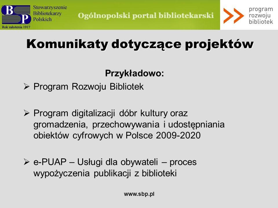 Komunikaty dotyczące projektów