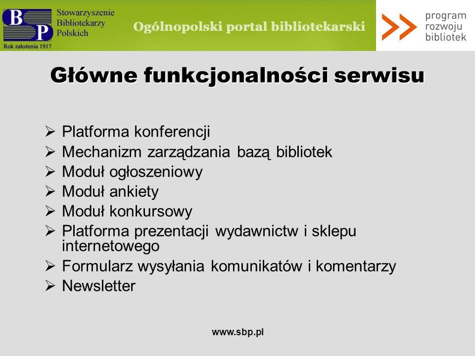 Główne funkcjonalności serwisu