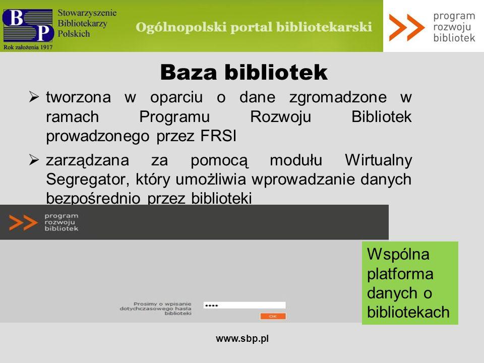 Baza bibliotek tworzona w oparciu o dane zgromadzone w ramach Programu Rozwoju Bibliotek prowadzonego przez FRSI.