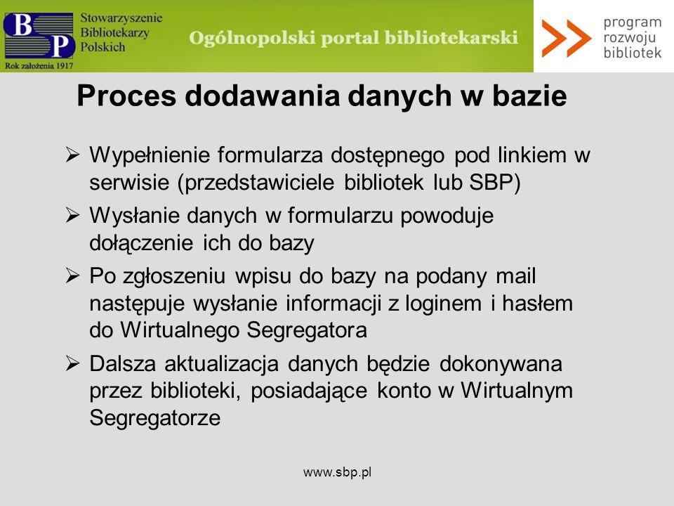 Proces dodawania danych w bazie