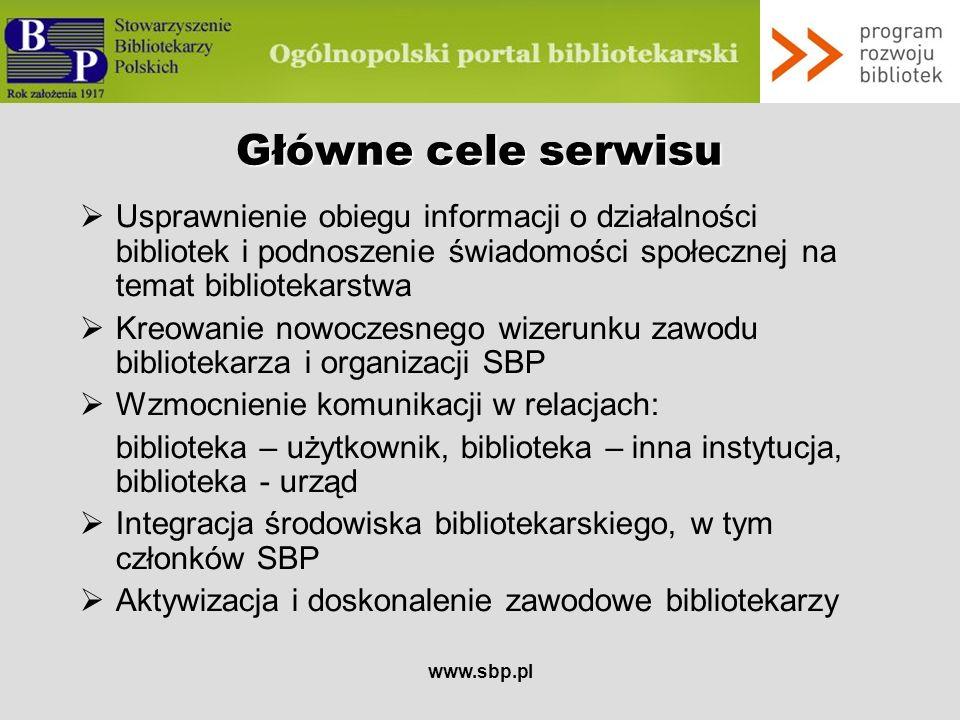 Główne cele serwisu Usprawnienie obiegu informacji o działalności bibliotek i podnoszenie świadomości społecznej na temat bibliotekarstwa.