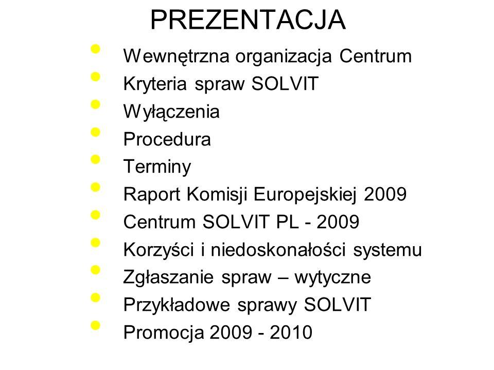 PREZENTACJA Wewnętrzna organizacja Centrum Kryteria spraw SOLVIT
