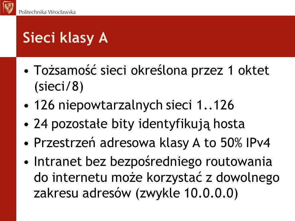 Sieci klasy A Tożsamość sieci określona przez 1 oktet (sieci/8)