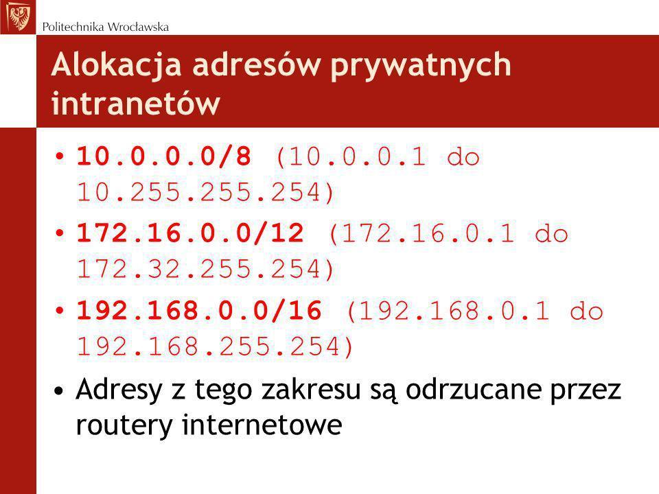 Alokacja adresów prywatnych intranetów