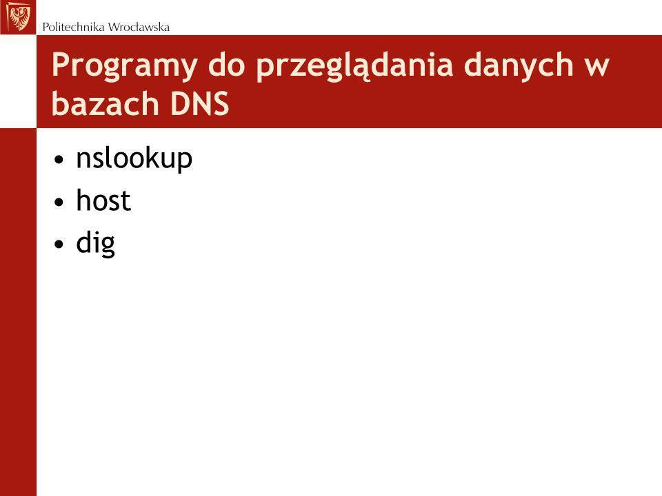 Programy do przeglądania danych w bazach DNS