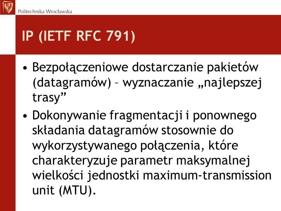 """IP (IETF RFC 791) Bezpołączeniowe dostarczanie pakietów (datagramów) – wyznaczanie """"najlepszej trasy"""
