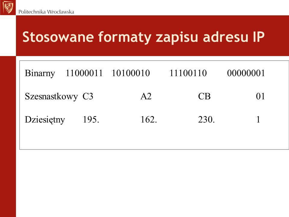 Stosowane formaty zapisu adresu IP