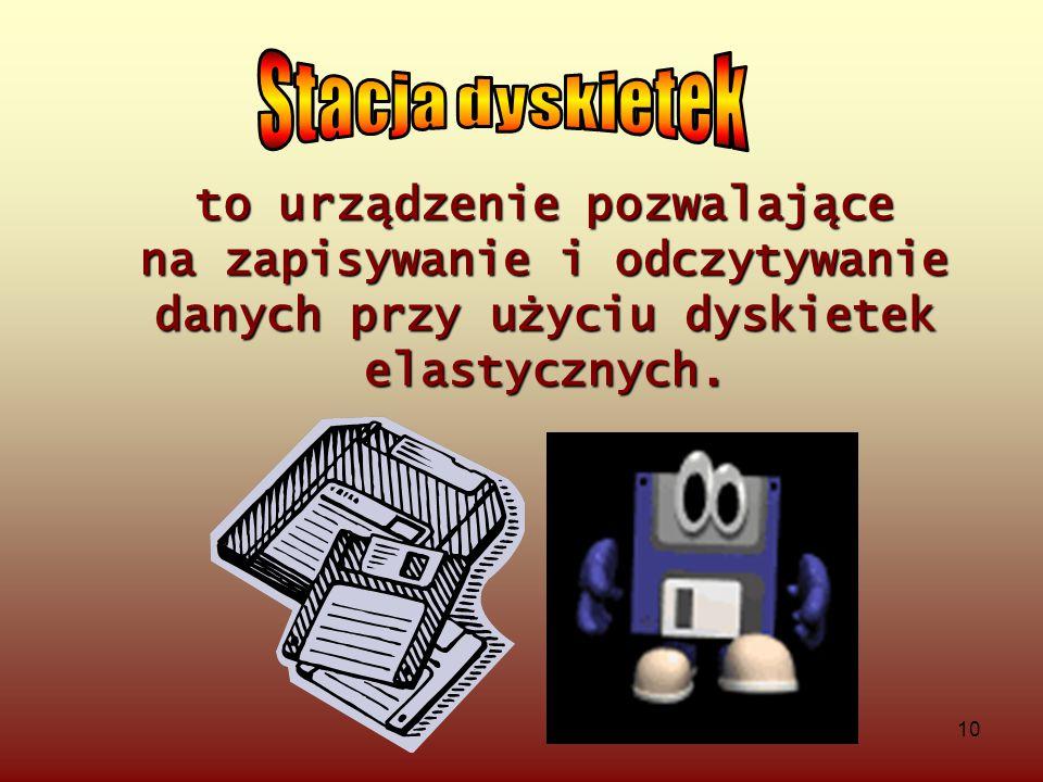 Stacja dyskietek to urządzenie pozwalające na zapisywanie i odczytywanie danych przy użyciu dyskietek elastycznych.