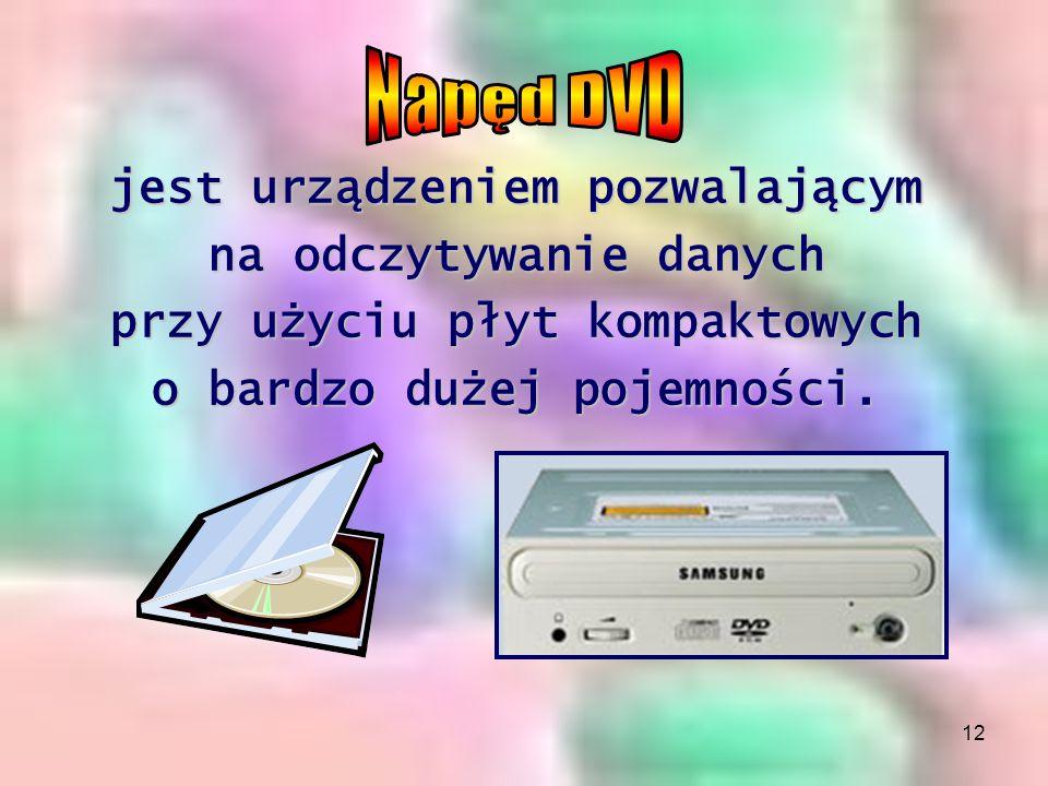 Napęd DVD jest urządzeniem pozwalającym na odczytywanie danych