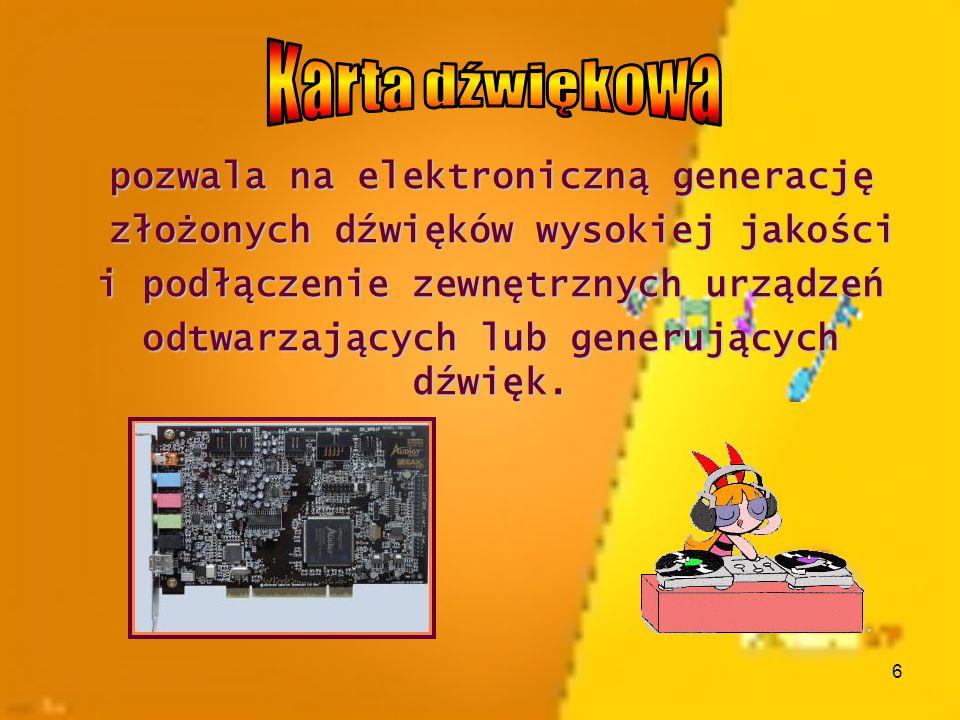 Karta dźwiękowa pozwala na elektroniczną generację