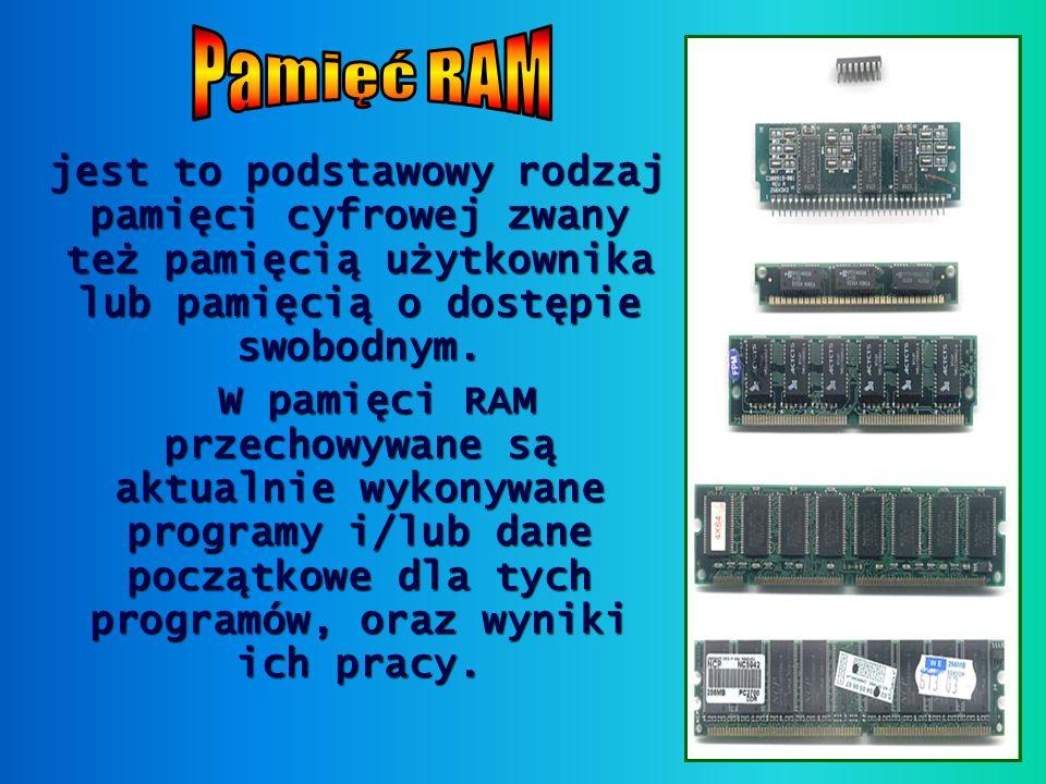 Pamięć RAM jest to podstawowy rodzaj pamięci cyfrowej zwany też pamięcią użytkownika lub pamięcią o dostępie swobodnym.
