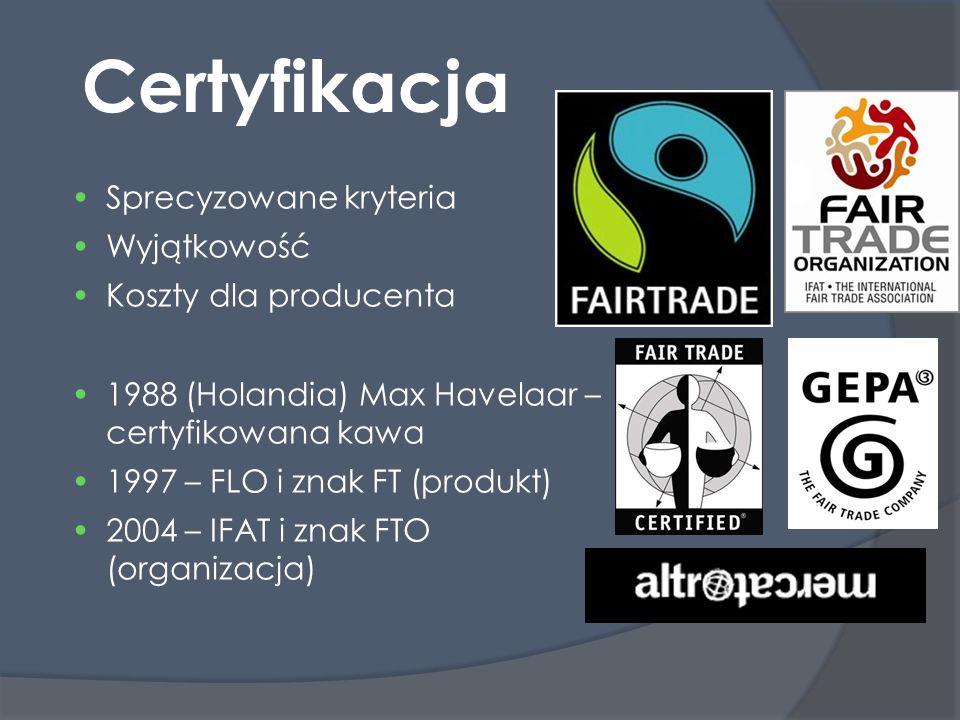 Certyfikacja Sprecyzowane kryteria Wyjątkowość Koszty dla producenta