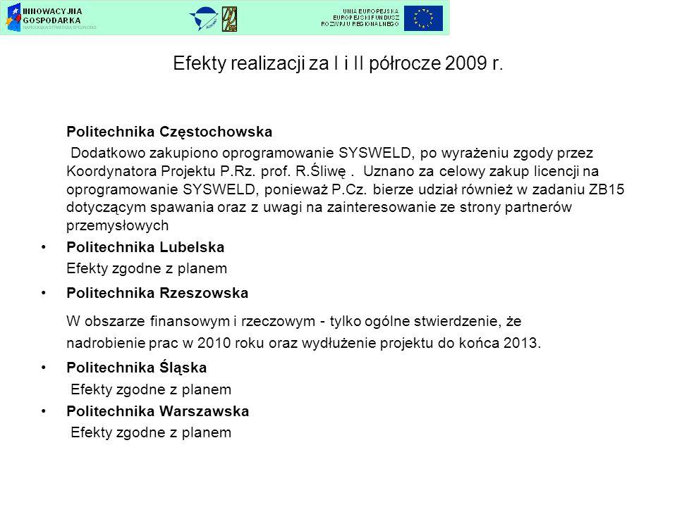 Efekty realizacji za I i II półrocze 2009 r.