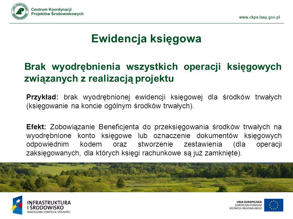 Ewidencja księgowa Brak wyodrębnienia wszystkich operacji księgowych związanych z realizacją projektu.