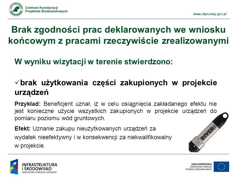 Brak zgodności prac deklarowanych we wniosku końcowym z pracami rzeczywiście zrealizowanymi