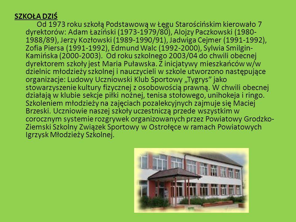 SZKOŁA DZIŚ Od 1973 roku szkołą Podstawową w Łęgu Starościńskim kierowało 7 dyrektorów: Adam Łaziński (1973-1979/80), Alojzy Paczkowski (1980-1988/89), Jerzy Kozłowski (1989-1990/91), Jadwiga Cejmer (1991-1992), Zofia Piersa (1991-1992), Edmund Walc (1992-2000), Sylwia Smilgin-Kamińska (2000-2003). Od roku szkolnego 2003/04 do chwili obecnej dyrektorem szkoły jest Maria Puławska.