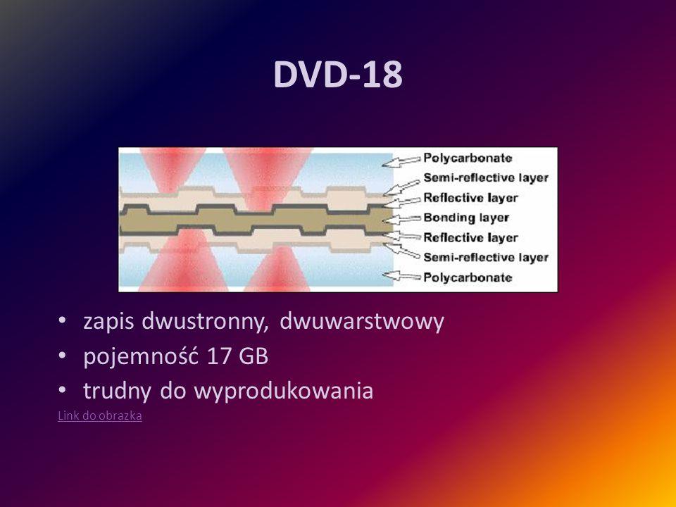 DVD-18 zapis dwustronny, dwuwarstwowy pojemność 17 GB