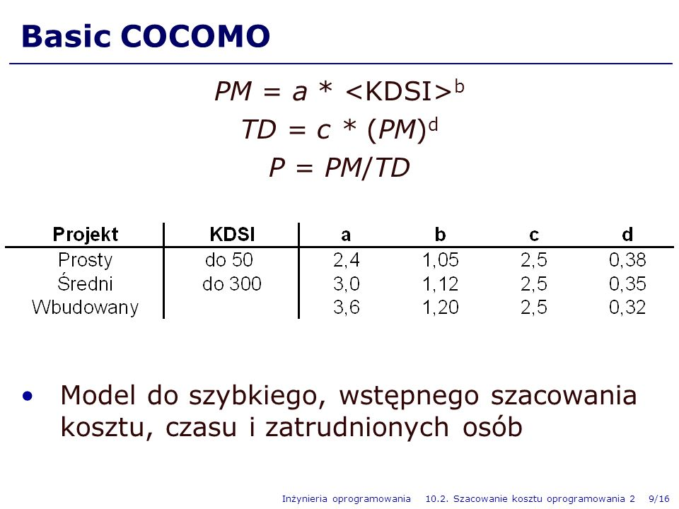 Basic COCOMO PM = a * <KDSI>b TD = c * (PM)d P = PM/TD