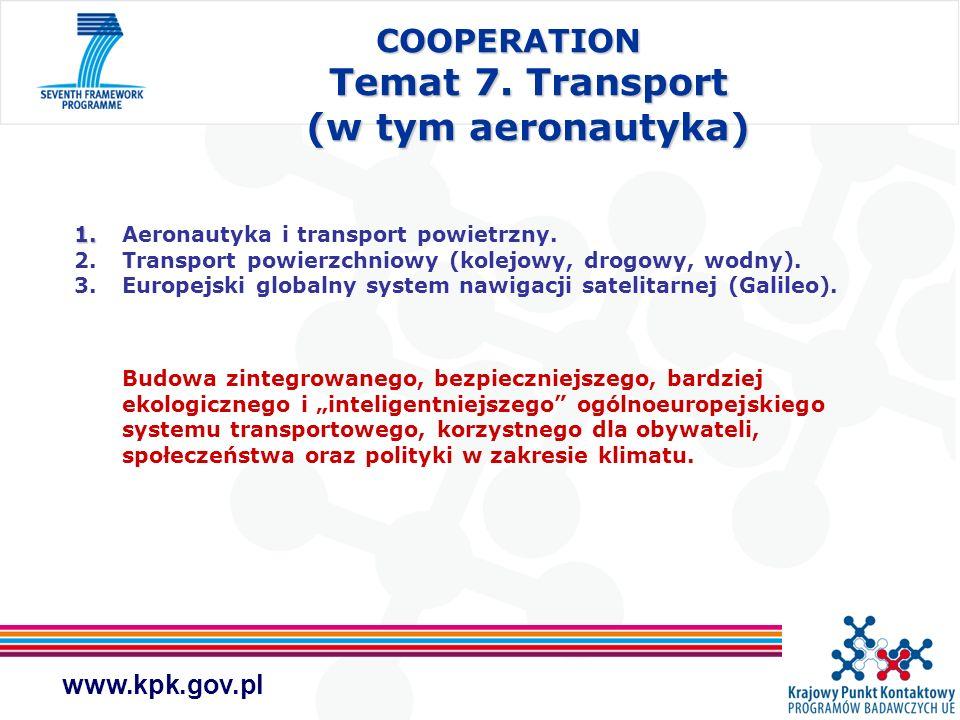 COOPERATION Temat 7. Transport (w tym aeronautyka)