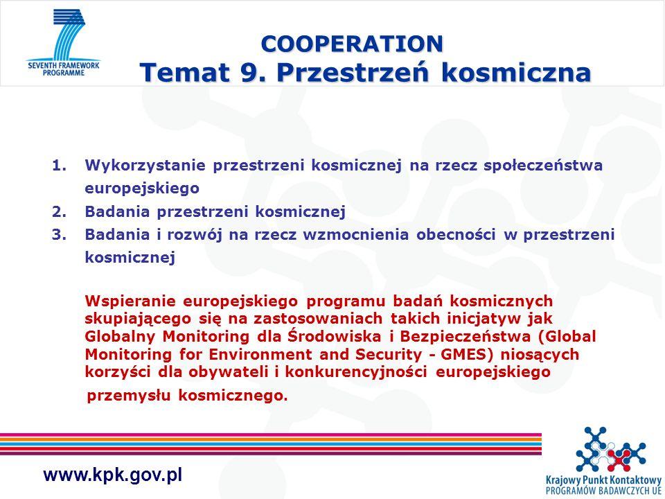 COOPERATION Temat 9. Przestrzeń kosmiczna