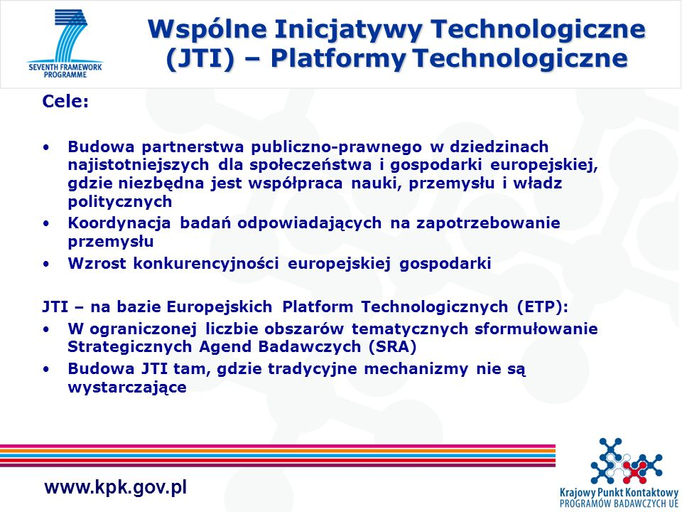 Wspólne Inicjatywy Technologiczne (JTI) – Platformy Technologiczne