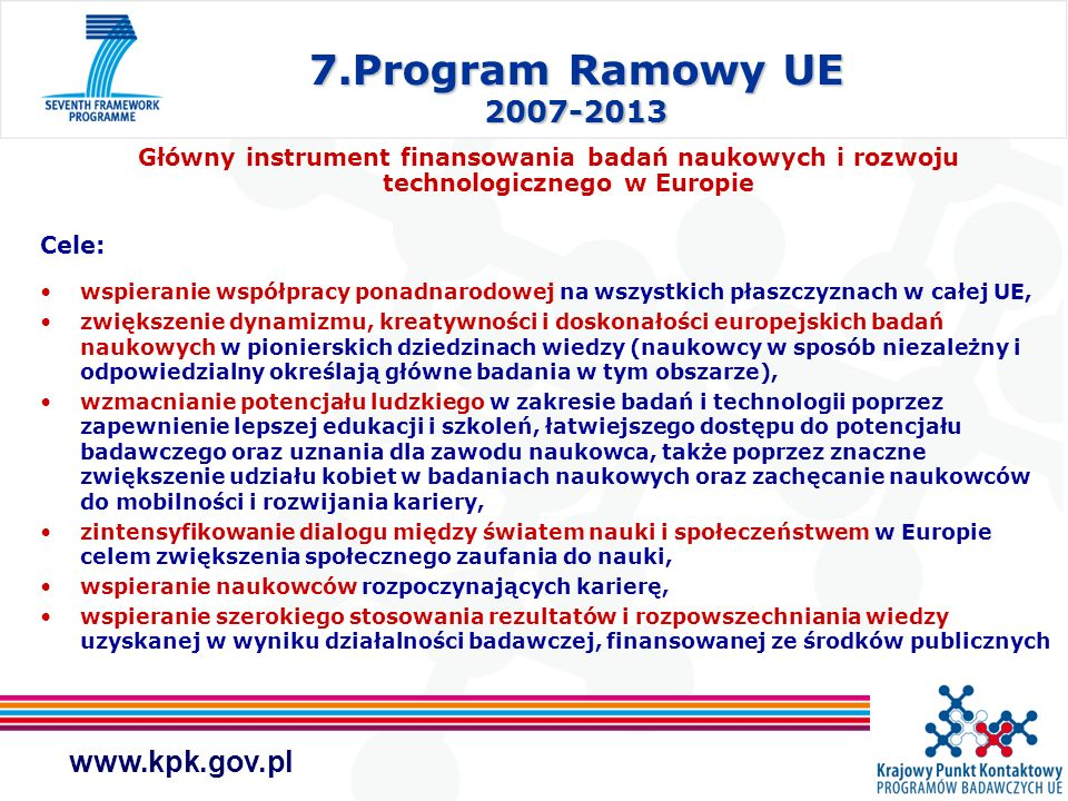 7.Program Ramowy UE 2007-2013 Główny instrument finansowania badań naukowych i rozwoju technologicznego w Europie.