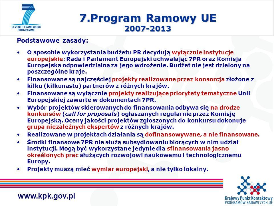 7.Program Ramowy UE 2007-2013 Podstawowe zasady: