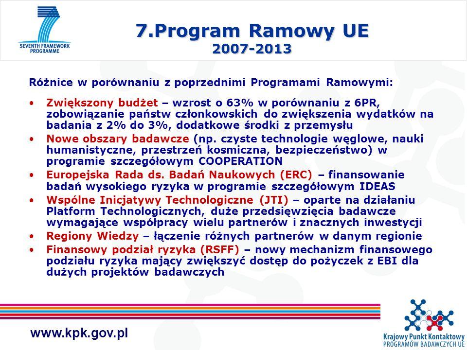 7.Program Ramowy UE 2007-2013 Różnice w porównaniu z poprzednimi Programami Ramowymi:
