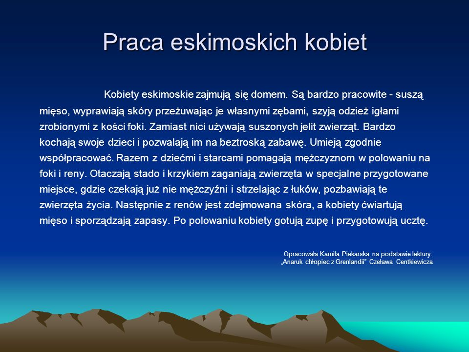 Praca eskimoskich kobiet