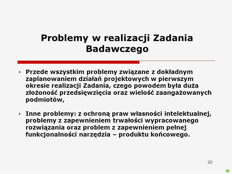 Problemy w realizacji Zadania Badawczego