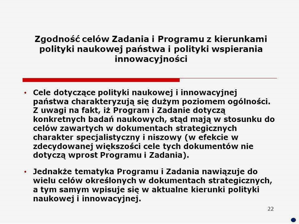 Zgodność celów Zadania i Programu z kierunkami polityki naukowej państwa i polityki wspierania innowacyjności